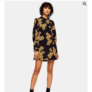 Topshop black flower mini dress